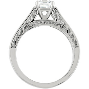 Filigree, Cathedral-Style Engagment Ring, front view