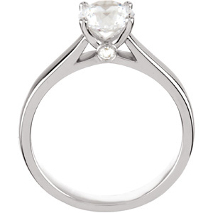 Solitaire Cathedral Style Engagement Ring Front View