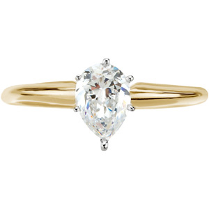 6-Prong Pear-Shape Solitaire Mounting, yellow/white gold