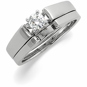 Solitaire Cathedral Engagement & Wedding, White Gold, Platinum, Palladium