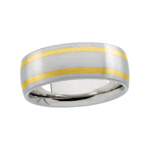 7mm Two-Tone Wedding Band, men's ring