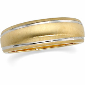 6mm Two-Tone Tapered Design Band, women's ring