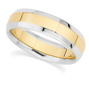 6 mm Two-Tone Wedding Band, man's ring