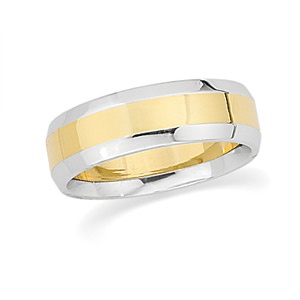 6 mm Two-Tone Wedding Band, woman's ring