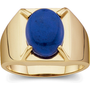 Men's 14K Yellow Gold Ring with Blue Lapis Cabochon