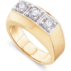 1 ct tw Gent's Diamond Ring, yellow gold