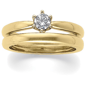 Diamond Solstice Solitaire® with Bombé Shank, 18K yellow gold