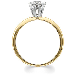 Round Tulipset® Diamond Solitaire, yellow gold, side view