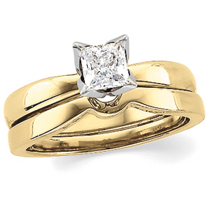 Princess-Cut Diamond Solitaire Tulipset® Ring, yellow gold