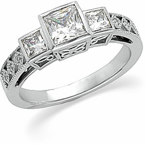 Filigree Engagement Ring, Semi-Mount
