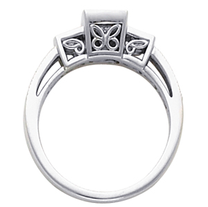 Filigree Engagement Ring, Semi-Mount, side view