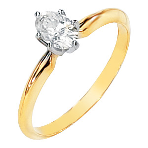 6-Prong Oval Moissanite Solitaire, yellow gold