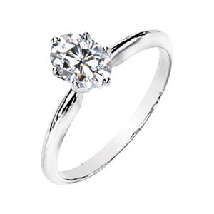 6-Prong Oval Moissanite Solitaire,