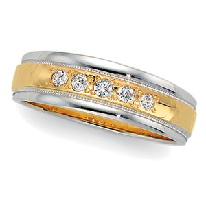 1/5 ct tw Two-Tone Diamond Duo Band, men's ring