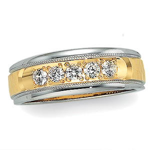 1/5 ct tw Two-Tone Diamond Duo Band, women's ring