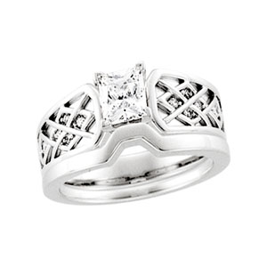 Celtic Style Engagment Ring, 14K White Gold