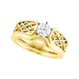 Celtic Style Engagment Ring, 14K Yellow Gold