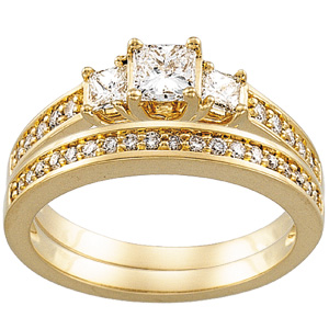 Engagement Ring & Wedding Band, yellow gold