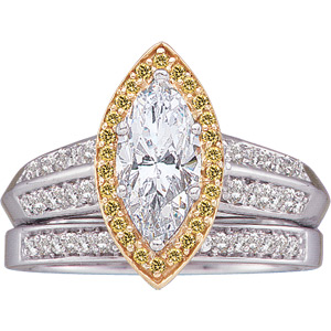 Marquise & Yellow Diamond Engagment Ring, Band