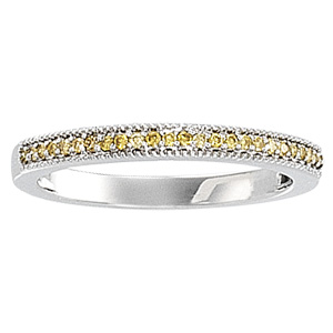 1/8 ct tw Yellow Diamond Band, whie gold