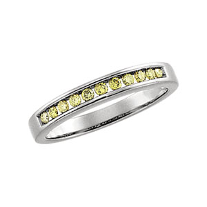 Yellow Diamond Band, 14K white gold