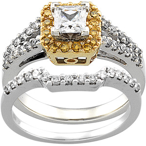 Yellow Diamond Engagement, Wedding Band Set