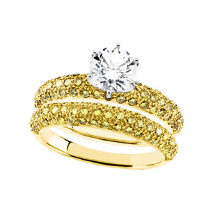 Yellow Diamond Engagement & Wedding Band Set, Semi Mount