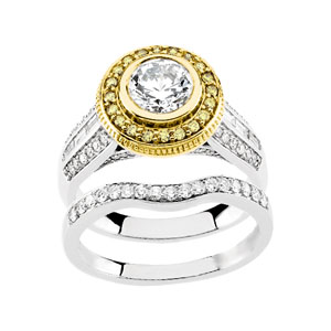 Round Diamond, Yellow Diamonds Engagement, Wedding Band Set