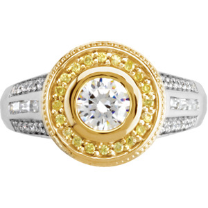 Round Diamond, Yellow Diamonds Engagement, Wedding Band Set, top view