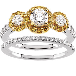 Yellow & White Diamond Engagement Ring, Wedding Band
