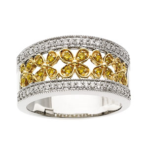 Yellow & White Diamonds, Flower Design Band