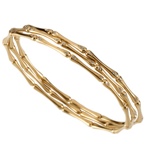 Stackable Gold and Diamond Bracelets, three stacked