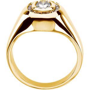 Created Moissanite & Diamond Gent's Ring, front view