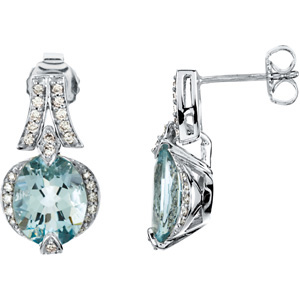 Aquamarine and Diamond Earrings, side view
