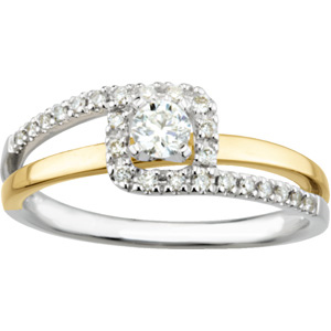Two-Tone Bypass Engagment Ring, Wedding Band Set