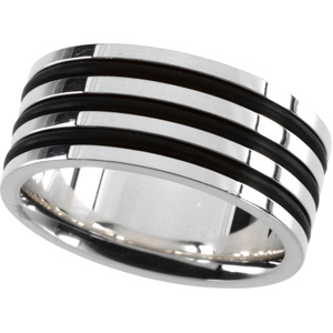 Gent's Sterling Silver & Rubber Ring, right angle