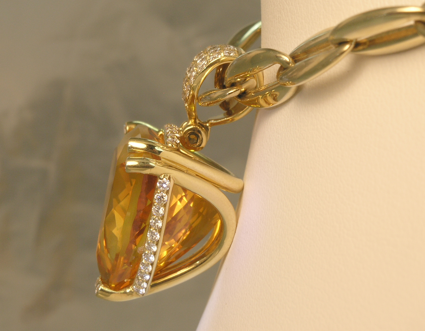 Citrine and Diamond Pendant, side view