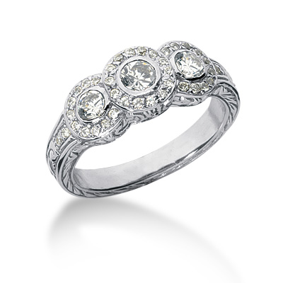 Diamond ring with large round diamond surrounded by smaller diamonds