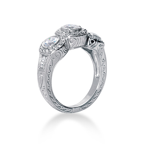 ClarionFineJewelry – Three Stone Square Cut Diamond Engagement Ring