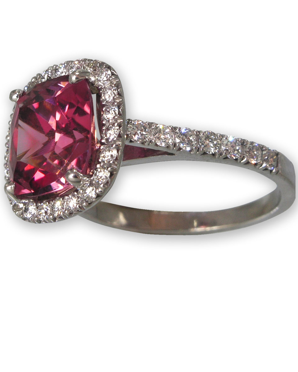 Pink Tourmaline & Diamond Pave Ring, Clarion Fine Jewelry, Fairfax, VA