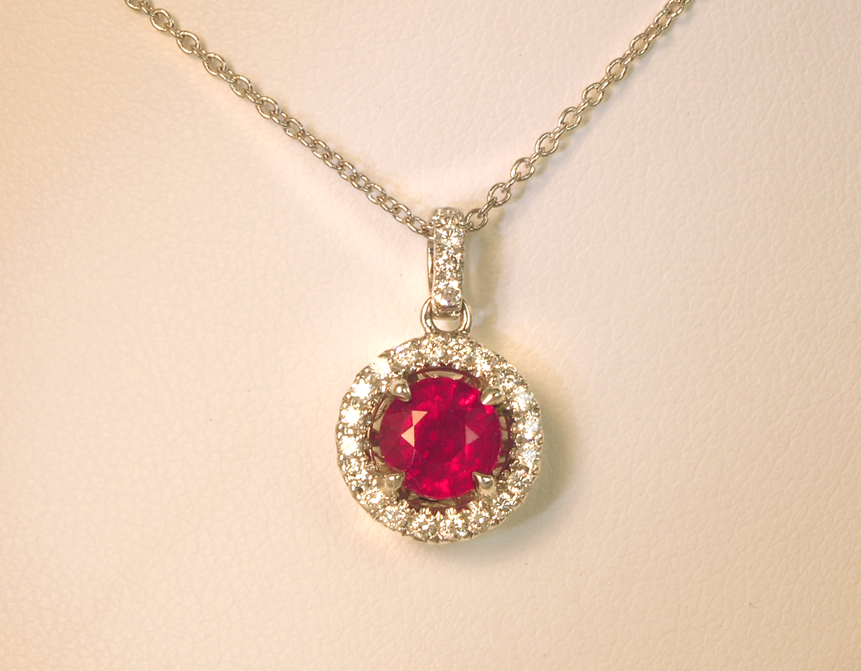 Clarionfinejewelry round ruby and diamond pendant round ruby and diamond pendant custom diamond engagement rings custom diamond jewelry in fairfax aloadofball