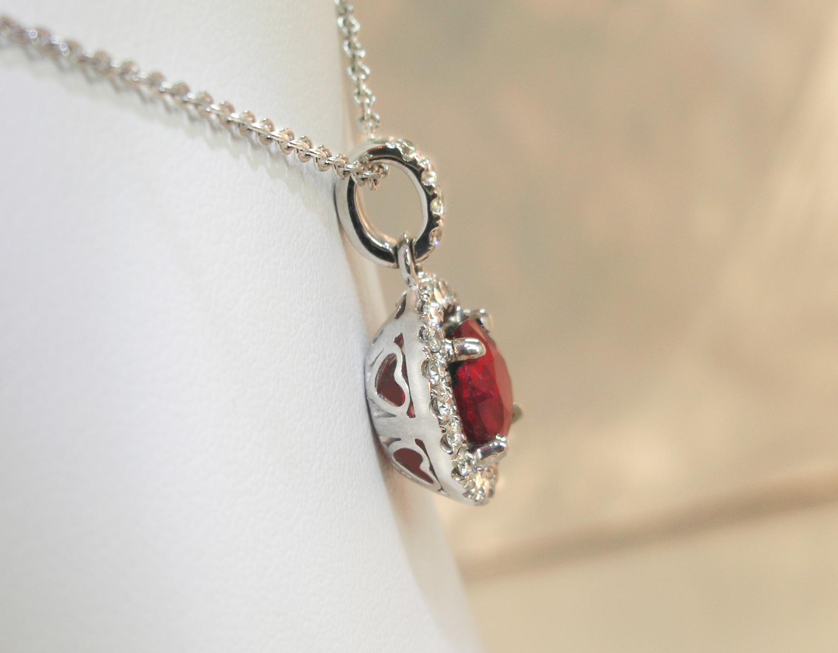 Round Ruby and Diamond Pendant, side view