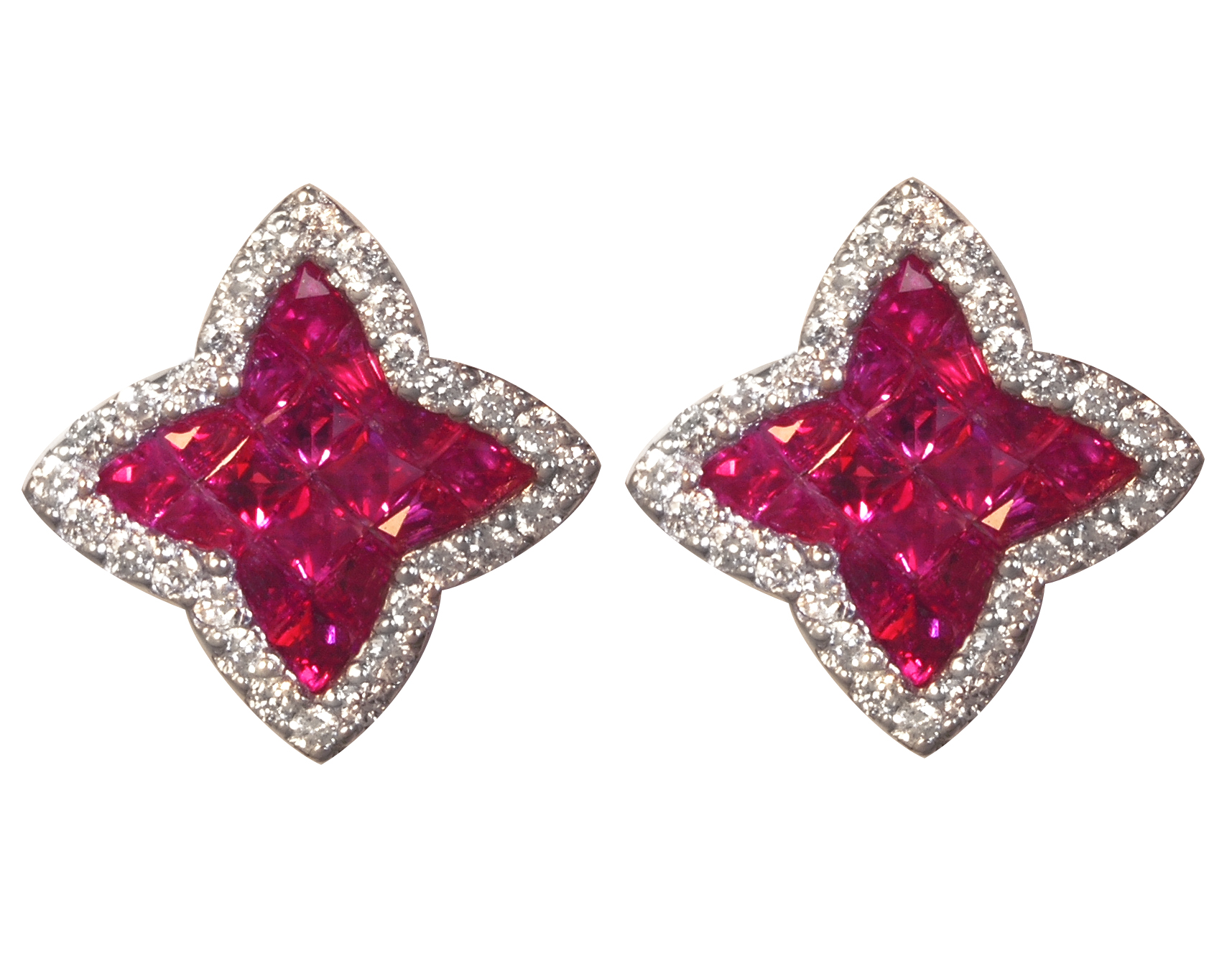 Ruby and Diamond Pave Earrings